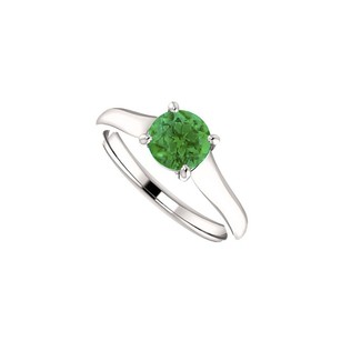 LoveBrightJewelry May Birthstone Created Emerald Engagement Rings In 14kt White