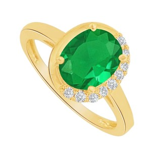 LoveBrightJewelry Oval Emerald And Cz Engagement Ring In 14k Yellow Gold