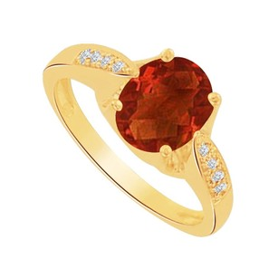 LoveBrightJewelry Oval Garnet And Cz Solitaire Ring In 14k Yellow Gold
