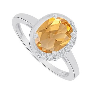 LoveBrightJewelry Oval Shape Citrine And Cz Ring In 14k White Gold