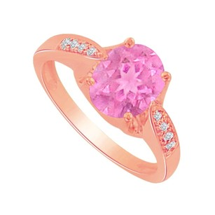 LoveBrightJewelry Pink Sapphire And Cubic Zirconia Ring In 14k Rose Gold