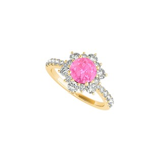 LoveBrightJewelry Pink Sapphire And Cz Flower Ring In 14k Yellow Gold