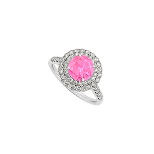 LoveBrightJewelry Pink Sapphire Cz Halo Engagement Ring Sterling Silver