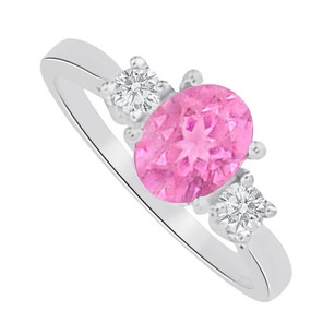 LoveBrightJewelry Pink Sapphire Cz Three Stones Ring In 14k White Gold