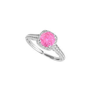 LoveBrightJewelry Prong Set Halo Engagement Ring With Pink Sapphire Cz