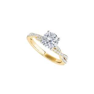 LoveBrightJewelry Round Cz Criss Cross Engagement Ring 1.25 Ct Tgw