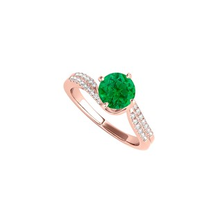 LoveBrightJewelry Round Emerald Cz Engagement Ring In 14k Rose Gold
