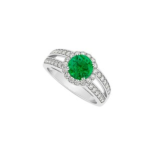 LoveBrightJewelry Round Emerald Split Shank Halo Engagement Ring With Cubic Zirconia