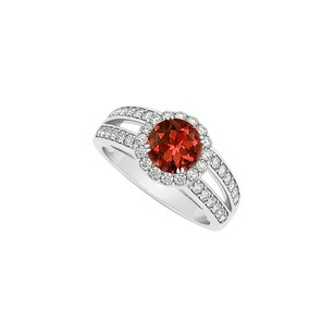 LoveBrightJewelry Round Garnet With Cubic Zirconia Split Shank Halo Engagement Ring