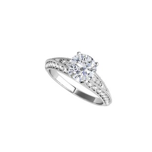 LoveBrightJewelry Round Shaped Cubic Zirconia Ring In 14k White Gold