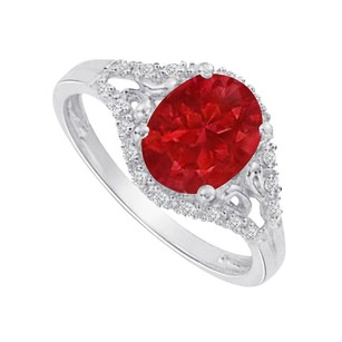 LoveBrightJewelry Ruby And Cubic Zirconia In White Gold Split Shank Ring