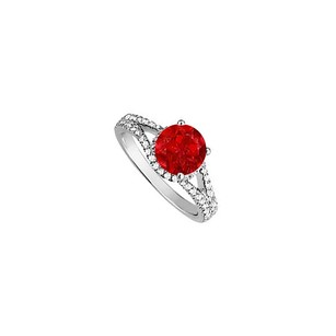 LoveBrightJewelry Ruby And Cubic Zirconia Split Shank Engagement Ring In Sterling
