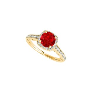 LoveBrightJewelry Ruby And Cz Halo Engagement Ring In 14k Yellow Gold