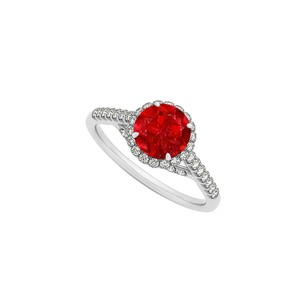 LoveBrightJewelry Ruby And Cz Specially Designed Engagement Ring In Sterling Silver