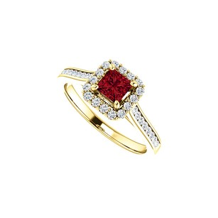 LoveBrightJewelry 1 Ct Channel Set Cz Accented Ruby Halo Ring Yellow Gold