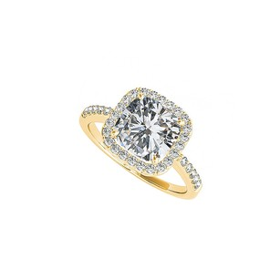 LoveBrightJewelry Cushion Cut Cz Square Halo Engagement Ring 14k Gold