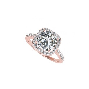 LoveBrightJewelry Cushion Cut Cz Square Halo Engagement Ring Rose Gold