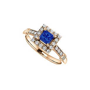 LoveBrightJewelry Cz Accented Square Sapphire Halo Ring 14k Rose Gold