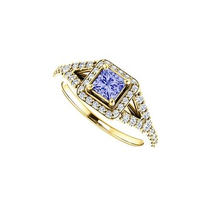 LoveBrightJewelry Cz And Faceted Cut Tanzanite Split Shank Halo Ring Gold