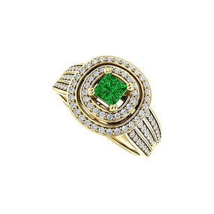 LoveBrightJewelry Double Halo Emerald And Cz Three Rows Ring 18k Vermeil