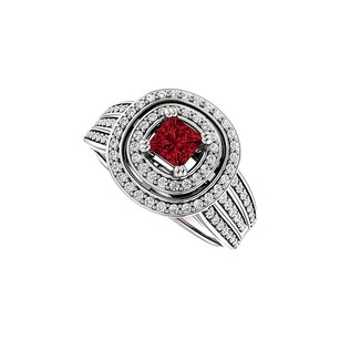 LoveBrightJewelry Ruby And Double Halo Cz Three Row Ring In 925 Silver