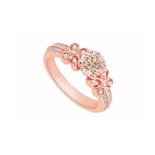 LoveBrightJewelry Morganite And April Birthstone Cubic Zirconia Floral Engagement