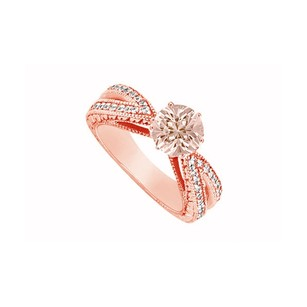 LoveBrightJewelry Morganite With Cubic Zirconia Split Shank 14k Rose Gold Vermeil