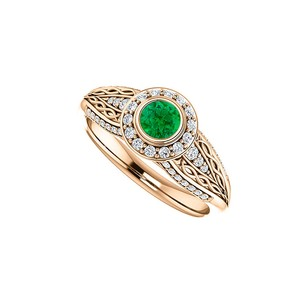 LoveBrightJewelry Emerald And Cz Leaf Pattern Ring 14k Rose Gold Vermeil