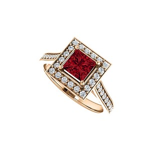LoveBrightJewelry Faceted Cut Ruby And Cubic Zirconia Square Halo Ring