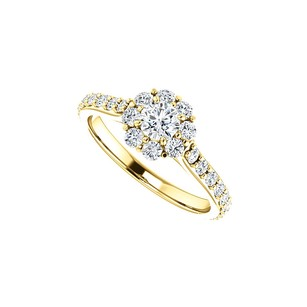 LoveBrightJewelry 1.00 Carat Cubic Zirconia Halo Engagement Ring Vermeil