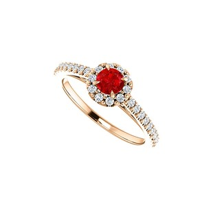 LoveBrightJewelry Round Cubic Zirconia Accented Ruby Halo Engagement Ring