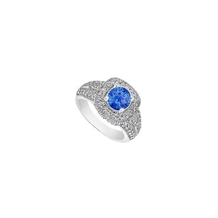 LoveBrightJewelry September Birthstone Created Sapphire Cz Milgrain Engagement Ring 14k