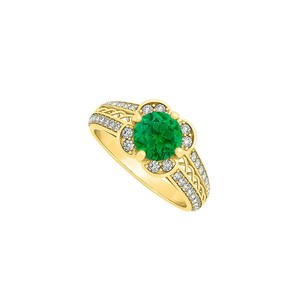 LoveBrightJewelry Two Row Diamonds And Center Emerald Fancy Criss Cross Fashion Ring