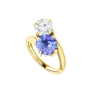 LoveBrightJewelry Two Stone Cz Tanzanite Engagement Ring 18k Gold Vermeil