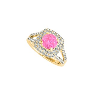LoveBrightJewelry Yellow Gold Vermeil Halo Ring With Pink Sapphire Cz
