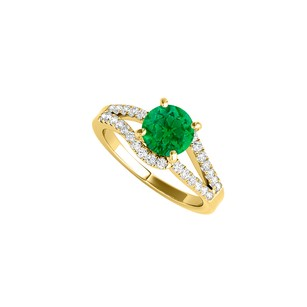 LoveBrightJewelry Yellow Gold Vermeil Ring With Cz Rows And Emerald