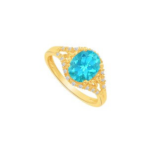 LoveBrightJewelry Yellow Gold Vermeil Split Shank Ring With Cz Blue Topaz