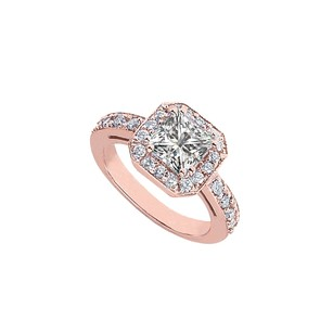 LoveBrightJewelry 2.5 Ct Tgw Cubic Zirconia Halo Engagement Rings In 14k Rose Gold Vermeil April Birthstone Gift