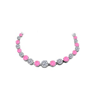 LoveBrightJewelry 30 ct Pink Sapphire CZ Graduated Necklace White Gold