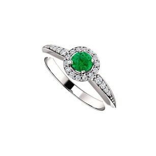 LoveBrightJewelry 4 Prong Set Emerald and CZ Round Halo Ring 925 Silver