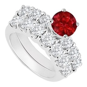 LoveBrightJewelry 925 Sterling Silver Created Ruby and Cubic Zirconia Engagement Ring with Wedding Band Set 1.15 Carat