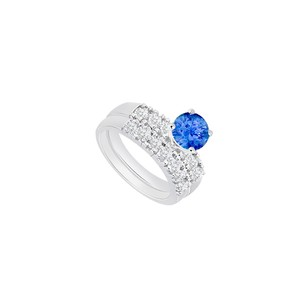 LoveBrightJewelry 925 Sterling Silver Created Tanzanite And Cubic Zirconia Engagement Ring With Wedding Band Set 1