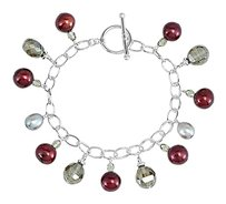 LoveBrightJewelry 925 Sterling Silver Freshwater Cultured Dyed Pearl and Smoky Glass Bead 7.25 Inch Bracelet