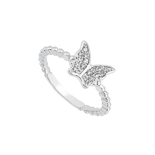 LoveBrightJewelry Amazing Price for Precious Diamond Butterfly Ring in 14K White Gold