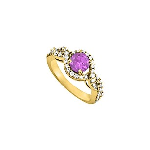 LoveBrightJewelry Amethyst And Cz Ring In Yellow Gold Vermeil 1.50 Tgw