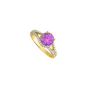 LoveBrightJewelry Amethyst And Cz Split Shank Ring In 18k Yellow Gold Vermeil Over 925 Sterling Silver Cool Price