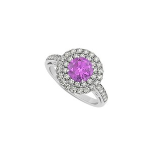 LoveBrightJewelry Amethyst And Double Circle Cubic Zirconia 14k White Gold Round Halo Engagement Ring