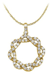 LoveBrightJewelry April Birthstone Cubic Zirconia Circle Design Pendant in Yellow Gold Vermeil with Free Chain
