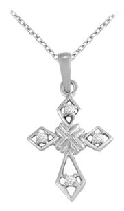 LoveBrightJewelry April Birthstone Cubic Zirconia Cross Pendant in 925 Sterling Silver