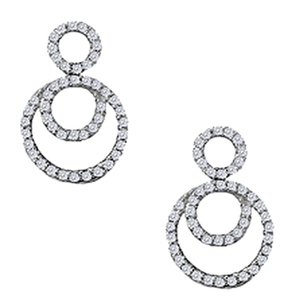 LoveBrightJewelry April Birthstone Cubic Zirconia Double Circle Earrings in Sterling Silver 0.75 CT TGW